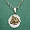 14k Gold Horse on Sterling Silver Locket Pendant