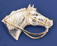 14k Gold & Sterling Silver Horse Head Pin Pendant Slide