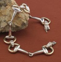 14k Gold and Sterling Silver Snaffle Bit Bracelet