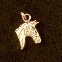 14k Gold Chunky Horse Head Charm or Pendant