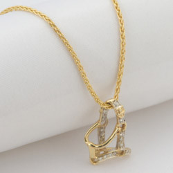 14k Gold and Diamond Halter Pendant