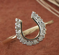 14k Gold Diamond Horseshoe Ring