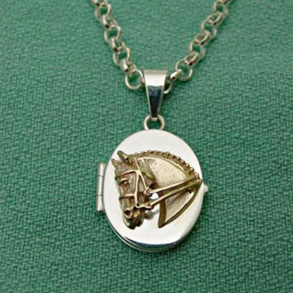 14k Gold Dressage Horse on Sterling Silver Locket Pendant