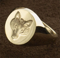 14k Gold Fox Mask Signet Ring
