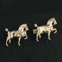 14K Gold Hackney Horse Cufflinks