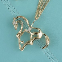 14K Yellow Gold Prancing Horse with Diamonds