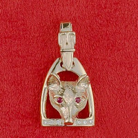 14k Gold Large Stirrup Pendant with Fox Mask