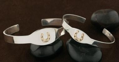 14k Gold Lucky Horseshoe on a Sterling Silver Slim Cuff Bangle Bracelet
