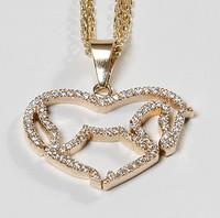 14k White or Yellow Gold Medium Loveheart Pendant Necklace