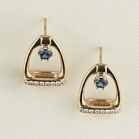 A classic pair of 14k gold stirrup earrings sapphire and diamonds.