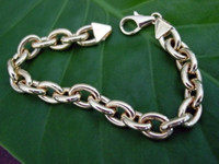 14k Yellow Gold Rolo Link Charm Bracelet