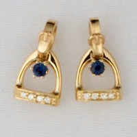 14k Gold Stirrup Stud Earrings with Diamonds and Sapphire
