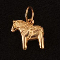14k Gold Tiny Dala Swedish Horse Pendant or Charm