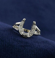 14k White Gold Horseshoe Ring with Diamonds