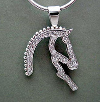 14k White Gold and Diamond Braided Horse Head Silhouette Pendant