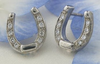 14k White or Yellow Gold Horseshoe Earrings with Diamonds
