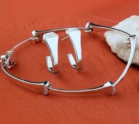 14k White Gold Horseshoe Nail Bracelet with Diamonds