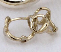 14k White Gold Huggie Snaffle Bit Huggie Earrings