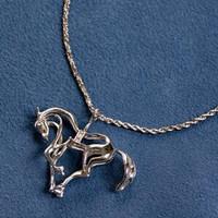 14k White Gold prancing horse pendant.