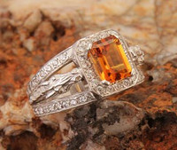 14k White or Yellow Gold Horse Head Ring with Citrine and Diamonds