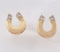 14k Gold Horseshoe Earrings with Diamonds