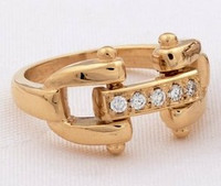 14k Yellow Gold Designer Style Bit Ring with Diamonds