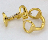 14k Yellow Gold Snaffle Bit Huggie Earrings