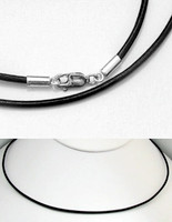 2mm Black Leather Necklace with Sterling Silver Fittings