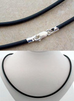 3mm Black Rubber Necklace with Sterling Silver Fittings