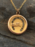 Antique Horse in Horseshoe Fob Locket Pendant