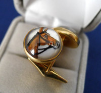 Antique Bay horse reverse crystals in 14k gold cufflinks