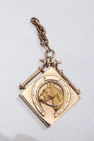 Antique Rose Gold Horsehead and Horseshoe Locket Pendant
