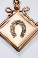 Antique Rose Gold-Filled Horseshoe Locket Pendant