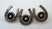 Antique Silver Three Horseshoes Pin