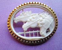 Antique 3 Horses Oval Celluloid Pin or Brooch