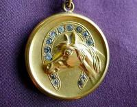 C.1920 Antique Horse Head in Horseshoe Locket Pendant