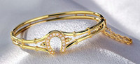 14k Gold and Akoya Pearl Horseshoe Bangle Bracelet