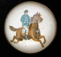 Original Gentleman on a Chestnut Horse on White Bridle Rosette Pin Brooch