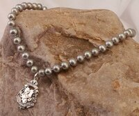 Grey Pearl Necklace with Antique Horse Fob