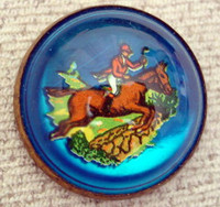 Huntsman on Blue Horse Bridle Rosette Pin