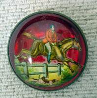 Huntsman on Red Bridle Rosette Pin