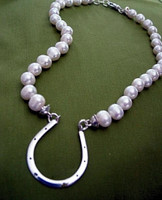 Large Horseshoe on Freshwater Pearl Necklace