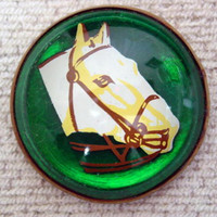 Original White Bridled Horse Head on Green Bridle Rosette Pin