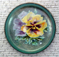 Original Yellow Pansy on Green Bridle Rosette as Pin