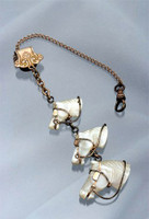 Rare antique mother of pearl 3 horse heads fob