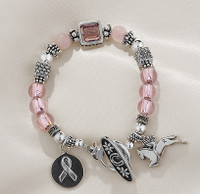 "Sterling Silver & Swarovski Crystal ""Ride for the Cure"" Charm Bracelet"