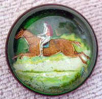 Rider on Galloping Chestnut Horse in Landscape Bridle Rosette Pin
