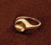Small 14k Yellow or White Gold Embossed Intaglio Horse Head Signet Ring
