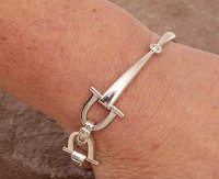 Sterling Silver Sophisticated Two Snaffle  Bits Bracelet