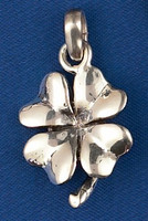 Sterling Silver 4-Leaf Chunky Clover Charm or Pendant